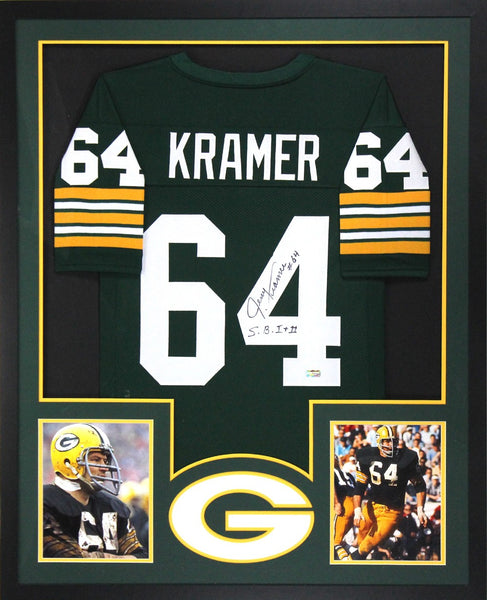 "Jerry Kramer Signed Green Bay Packers Framed Green Custom Jersey With ""S.B. I & II"" Inscription"