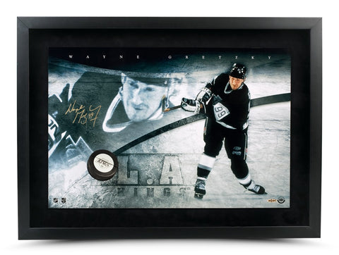 Wayne Gretzky Autographed Los Angeles Kings Slapshot Breaking Through Framed