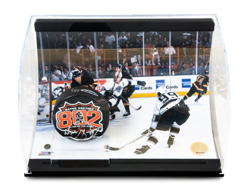Wayne Gretzky Signed 802 Puck with 802 Goal Picture Curve Display