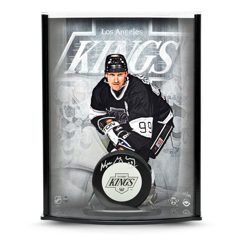 Wayne Gretzky Signed Kings Puck with Triplex Picture Curve Display