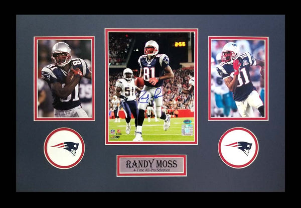 Randy Moss Signed New England Patriots Framed 8x10 NFL Photo