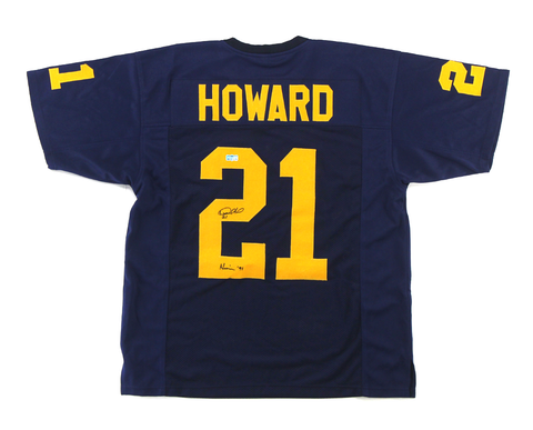 "Desmond Howard Signed Michigan Wolverines Navy Blue Custom Jersey with ""Heisman 91"" Inscription"