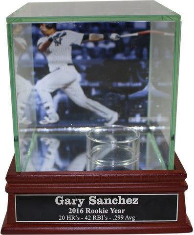 Gary Sanchez Background Glass Single Baseball Case w/ Rookie Stats Nameplate