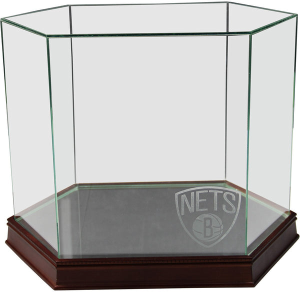 Glass Display Case with Brooklyn Nets Logo Etched