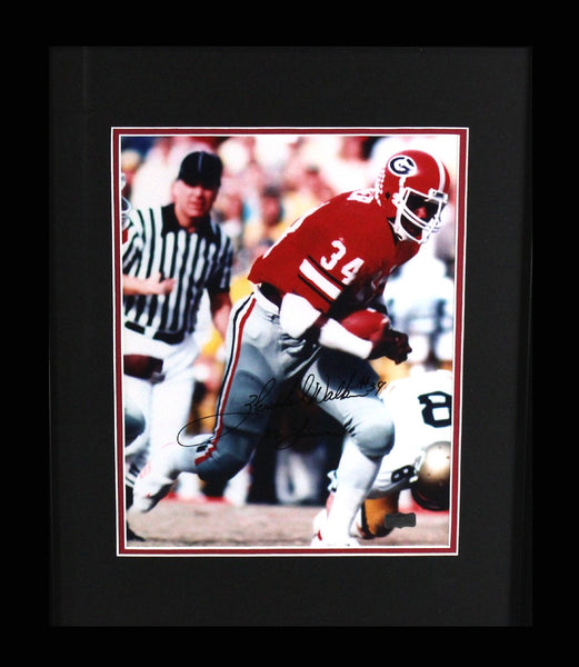 "Herschel Walker Autographed/Signed Georgia Bulldogs Framed 11x14 NCAA Photo with ""82 Heisman"" Inscription - Running Left"