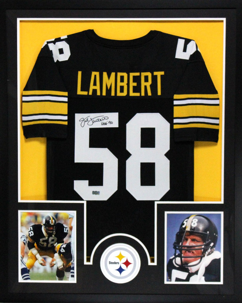 detailed look 90316 9bbd6 Jack Lambert Signed Pittsburgh Steelers Framed Black Jersey with