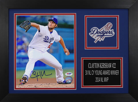 Clayton Kershaw Autographed & Framed 8x10 Los Angeles Dodgers Photo Auto PSA COA D-8A