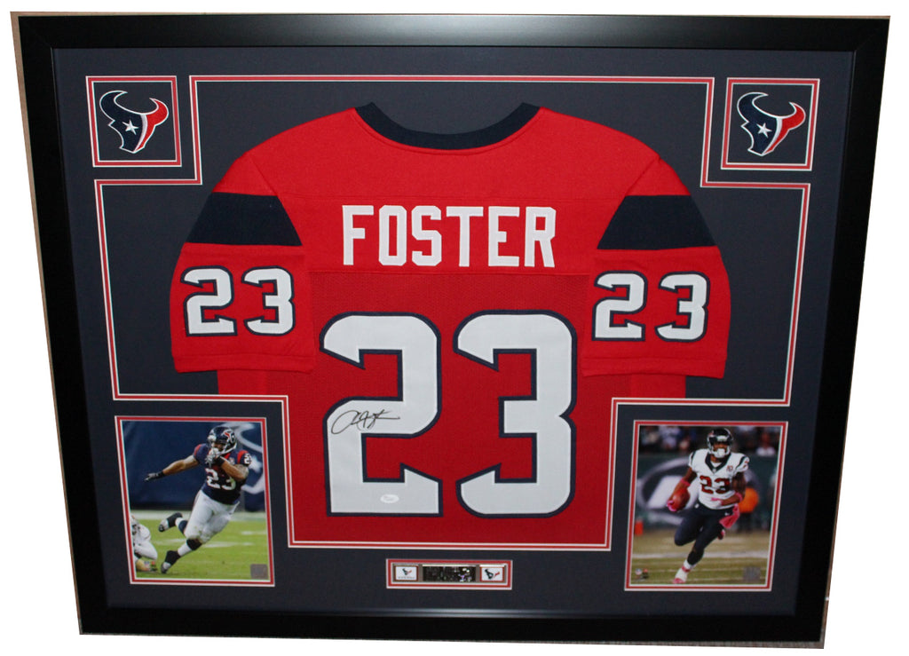 sale retailer 7efa0 270e0 Arian Foster Autographed and Framed Red Texans Jersey Auto JSA COA (D2-L)