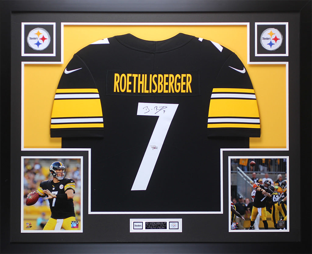 new product 4fa98 87405 Ben Roethlisberger Autographed & Framed Black Pittsburgh Steelers Jersey  Auto Fanatics COA