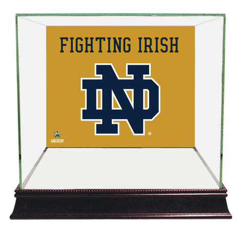Notre Dame Fighting Irish Logo Gold Background Glass Mini Helmet Case