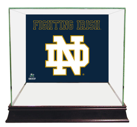 Notre Dame Fighting Irish Logo Blue Background Glass Mini Helmet Case