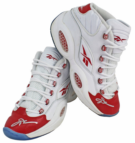 76ers Allen Iverson Signed White & Red Reebok Question Mid Shoes JSA Witness