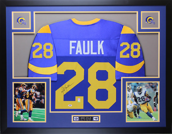 Marshall Faulk Autographed and Framed Blue Rams Jersey Auto PSA COA D2-L