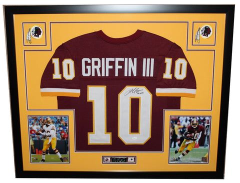 Robert Griffin Autographed and Framed Maroon Redskins Jersey Auto JSA Certified
