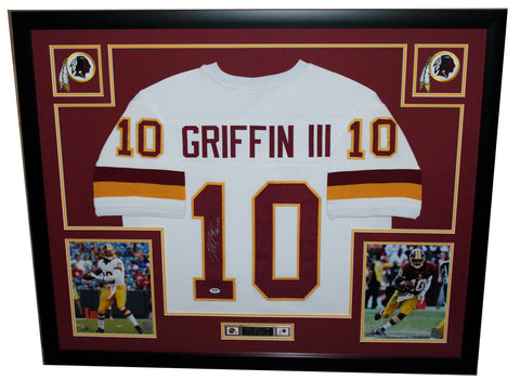 Robert Griffin RG III Autographed and Framed White Redskins Jersey Auto JSA Certified