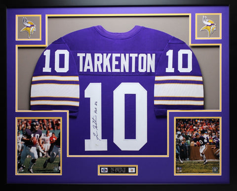 Fran Tarkenton Autographed HOF 86 and Framed Purple Vikings Jersey Auto JSA Certified