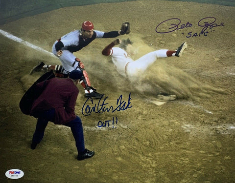 Pete Rose & Carlton Fisk Autographed 11x14 Safe vs Out *Blue- PSA/DNA W Auth