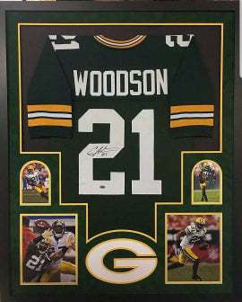Charles Woodson Signed Green Bay Packers Framed Green Custom Jersey