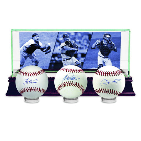 Yogi Berra, Gary Sanchez, Jorge Posada New York Yankees Signed Baseball Set with Custom Glass Display Case