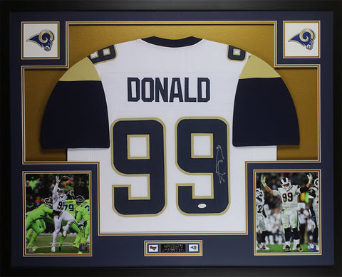 Aaron Donald Autographed & Framed White Los Angeles Rams Jersey JSA COA D1-L