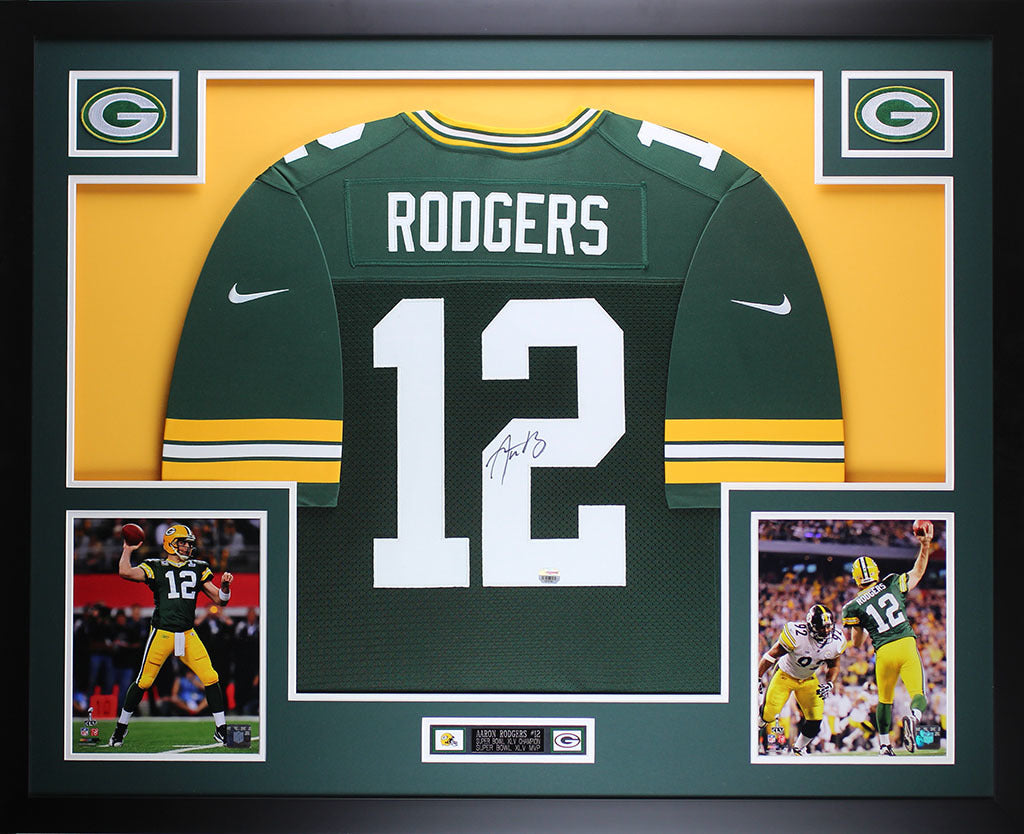 big sale b5dad cba54 Aaron Rodgers Autographed & Framed Green Packers Nike Jersey Auto Fanatics  COA D6-L