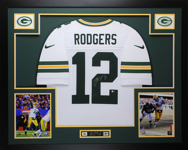 Aaron Rodgers Autographed & Framed White Packers Nike Jersey Auto Fanatics COA D8