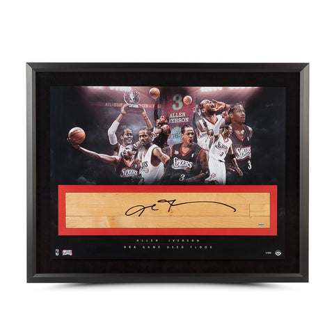"Allen Iverson Autographed NBA Game-Used Floor ""The Question"" Collage 36 x 24"
