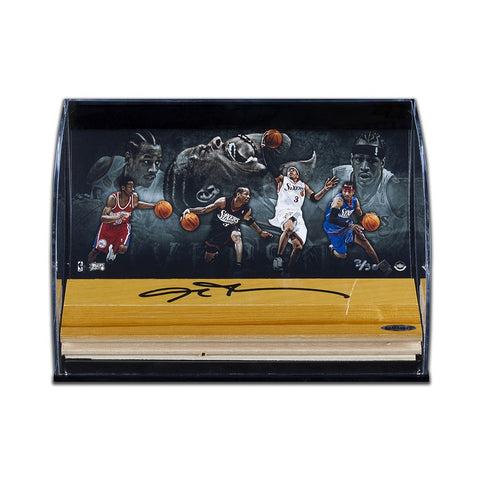 "Allen Iverson Autographed NBA Game-Used Floor With ""Progression to Greatness"" Curve Display"