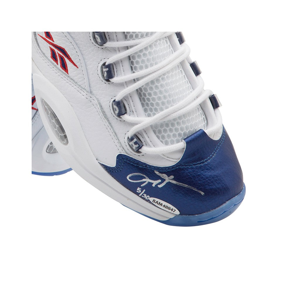 bfdaed443c6f28 Allen Iverson Autographed Reebok Question Mid Shoes With Blue Toe – Super  Sports Center