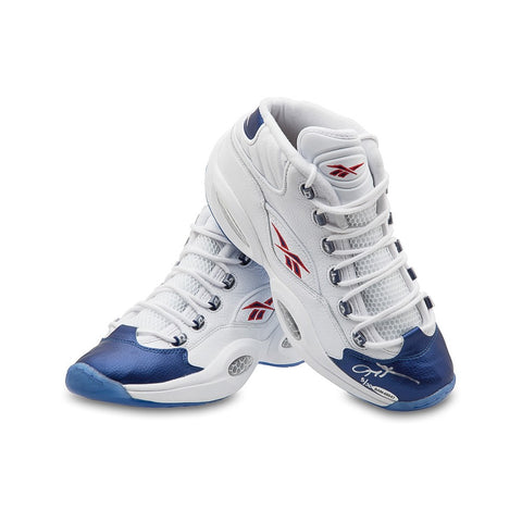 Allen Iverson Autographed Reebok Question Mid Shoes With Blue Toe