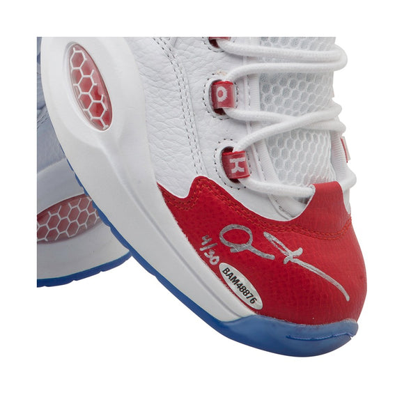 Allen Iverson Autographed Reebok Question Mid Shoes With Red Toe ... edd2c598c