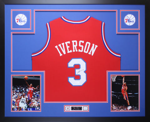Allen Iverson Autographed and Framed Red 76ers Jersey Auto JSA COA D1-L