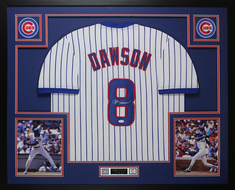 Andre Dawson Autographed & Framed Pinstriped Cubs Jersey Auto JSA COA D1-L