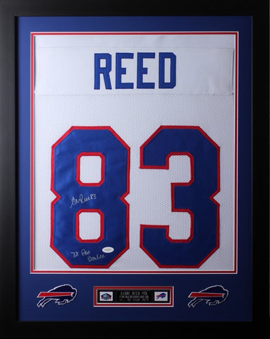 Andre Reed Framed and Autographed White Bills Jersey Auto JSA Certified