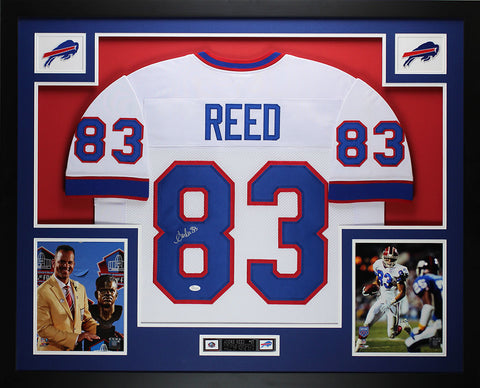 Andre Reed Autographed and Framed White Bills Jersey Auto JSA COA (D3-L)