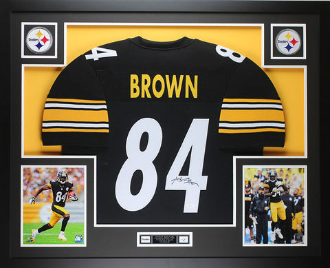 Antonio Brown Autographed & Framed Black Steelers Jersey Auto JSA COA D1-L