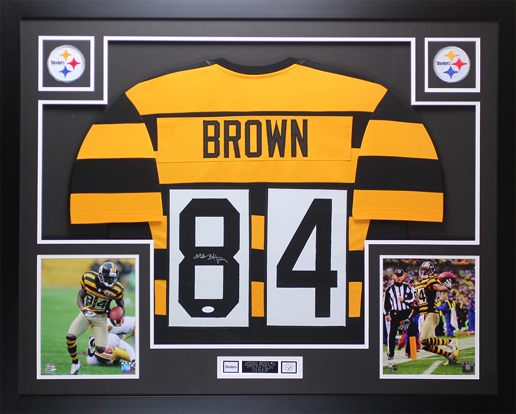 8a2fcddef81 Antonio Brown Autographed & Framed Throwback Bumblebee Steelers Auto J –  Super Sports Center