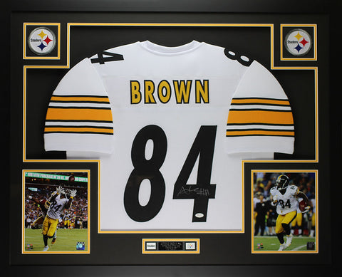Antonio Brown Autographed & Framed White Steelers Jersey Auto JSA COA D2-L