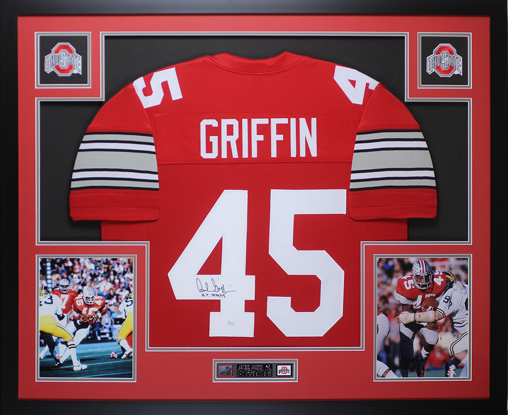 678cc2d7612 Archie Griffin Autographed HT 1974 75   Framed Red Buckeyes Jersey JSA –  Super Sports Center
