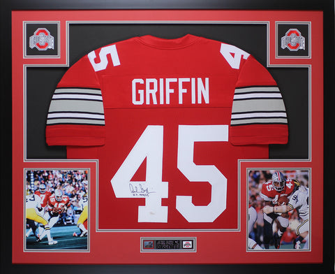 Archie Griffin Autographed HT 1974/75 & Framed Red Buckeyes Jersey JSA COA D6