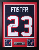 Arian Foster Framed and Autographed Navy Texans Jersey Auto JSA Certified