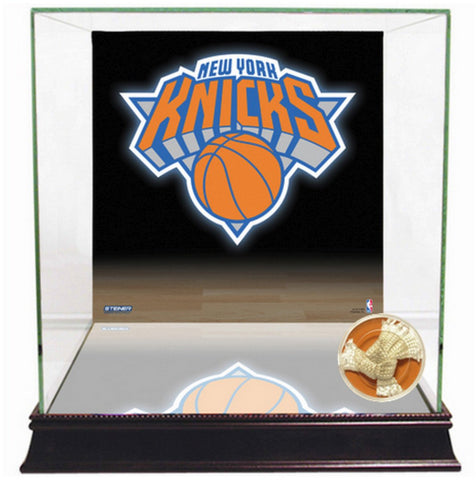 New York Knicks Logo Basketball Case w/ Game Used Net Swatch (2015 Season)