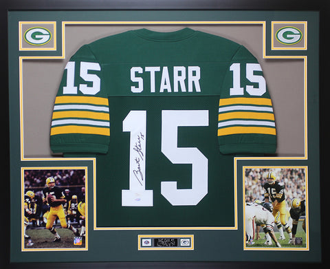 Bart Starr Autographed and Framed Green Packers Jersey JSA COA D2-L