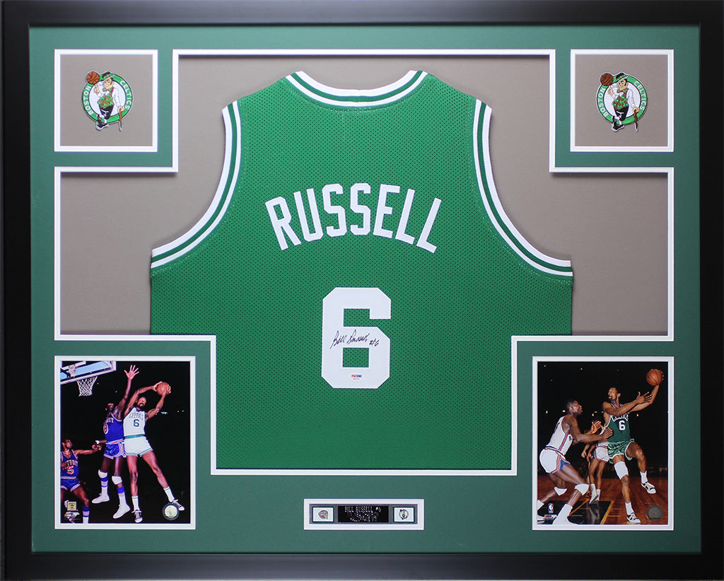 new arrivals 8a721 b3b33 Bill Russell Autographed and Framed Green Celtics Jersey Auto PSA COA (D1-L)