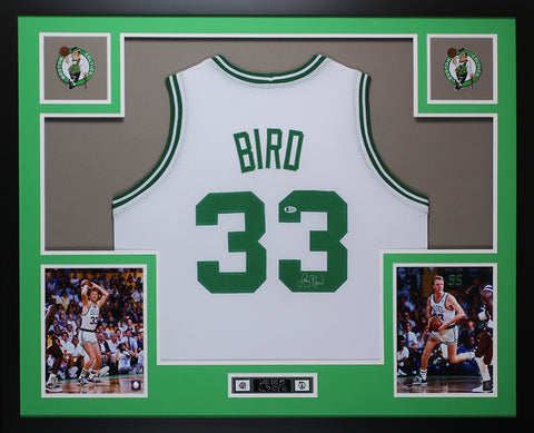 Larry Bird Autographed and Framed White Celtics  Jersey Auto Beckett COA D10-L