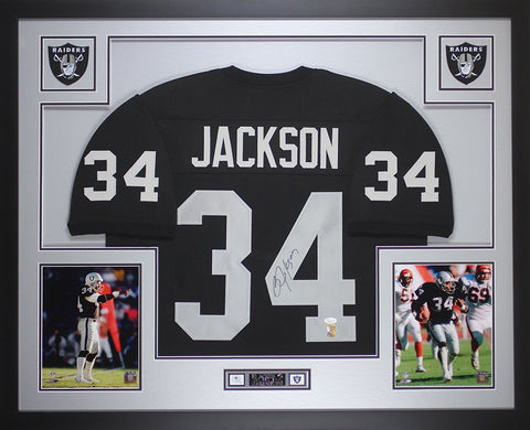 Bo Jackson Autographed and Framed Black Raiders Jersey Auto JSA COA