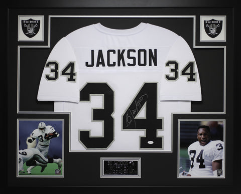 Bo Jackson Autographed and Framed White Raiders Jersey Auto JSA COA