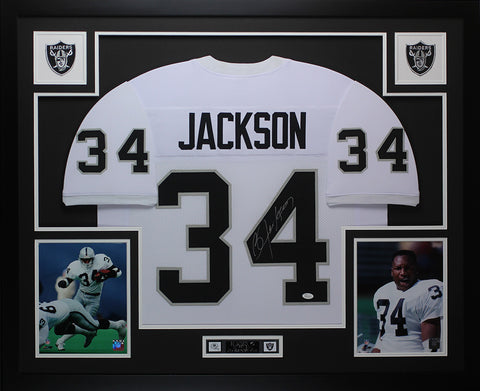 Bo Jackson Autographed and Framed White Raiders Jersey JSA Certified