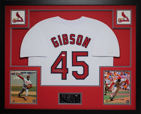 Bob Gibson Autographed and Framed White Cardinals Jersey Auto JSA Certified