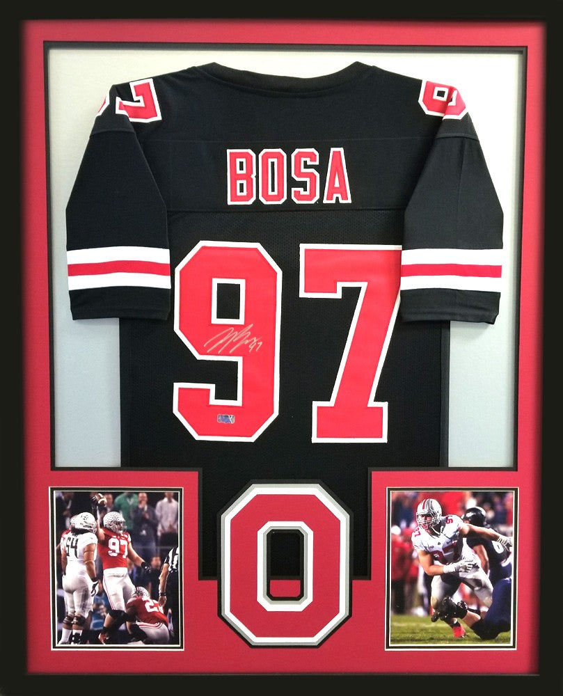 check out fd933 49d62 Joey Bosa Signed Ohio State Buckeyes Framed Black Custom Jersey
